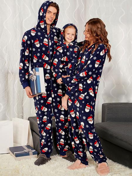 Matching Family Christmas Pajamas Santa Clause Dark Navy Jumpsuit