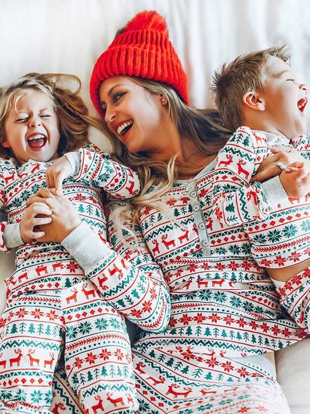Family Christmas Pajama Christmas Print 2 Piece Family Sleepwear Set