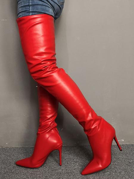 Cuissardes Rouge Bout Pointu 4.3 Talon Aiguille Bottes Cuissardes Pour Femmes