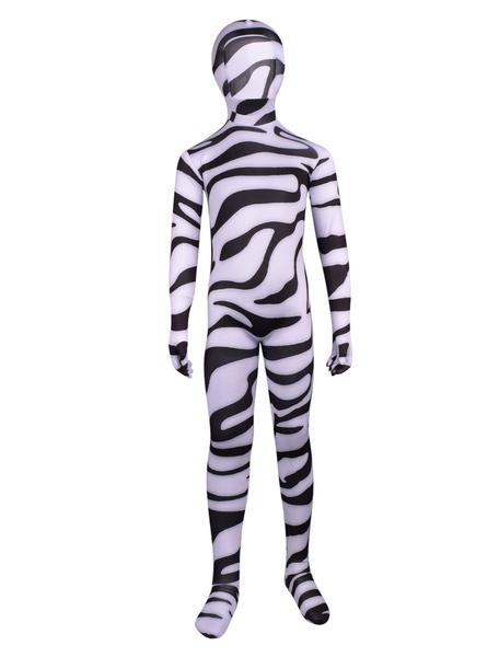 Milanoo Imprimé de Zebra Body blanc Lycra unisexe Zentai de Déguisements Halloween costumes pour enfants Déguisements Halloween