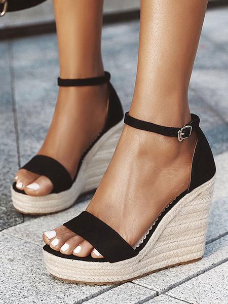 Espadrilles s Sandales Compenses Plateforme Chaussures En Noir - Milanoo FR - Modalova