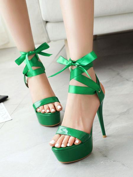 Sandales sexy en PU plateforme talon aiguille lacets Chaussures sexy - Milanoo FR - Modalova