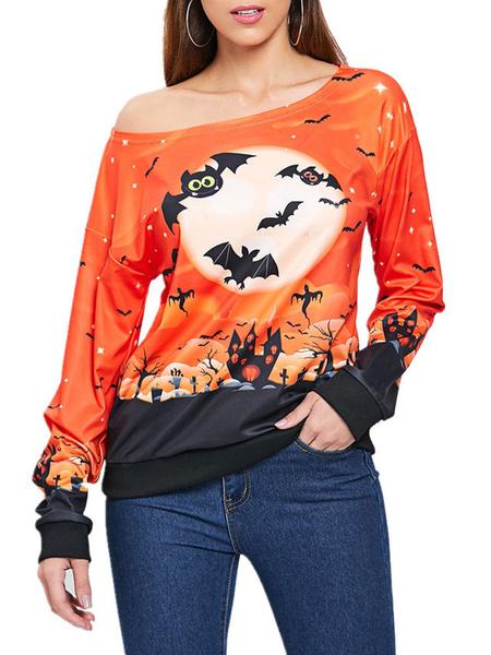 Milanoo Halloween Orange Tees Women Printed Jewel Neck Long Sleeve T-shirt