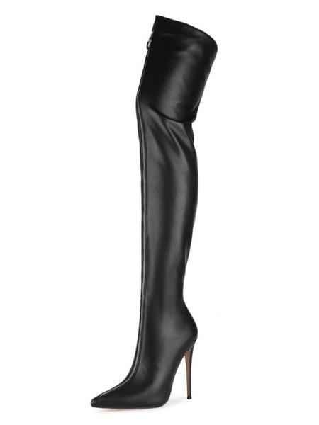 Cuissardes Bottes noires bout pointu zip talon haut Cuissardes pour les femmes