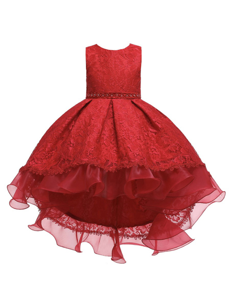 Milanoo Flower Girl Dresses Jewel Neck Polyester Sleeveless With Train Princess Silhouette Bows Kids Party Dresses