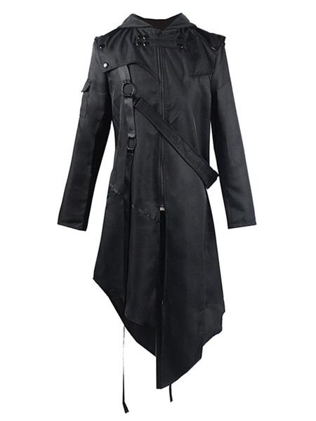Milanoo Retro Costumes For Man Black Vintage Long Sleeves Uniform Overcoat Cosplay Halloween