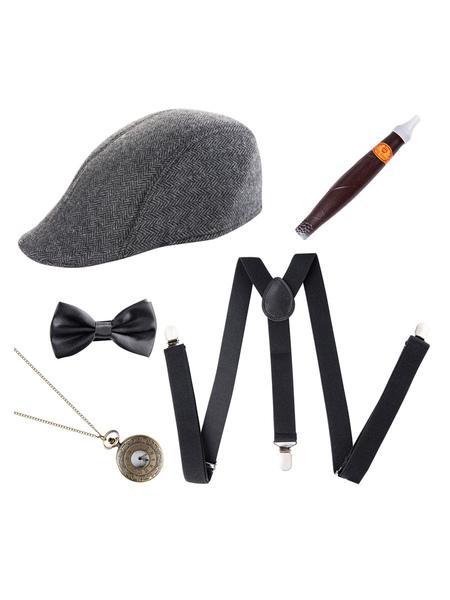 Milanoo Halloween Accessories Men's Five Piece Set Beret Cigar Bow Tie Cosplay Costume Accessories