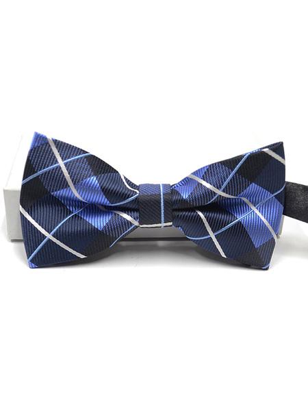 Milanoo Men Bow Tie Dress Tie Plaid Stripes Blue Cosplay Costume Halloween Accessories