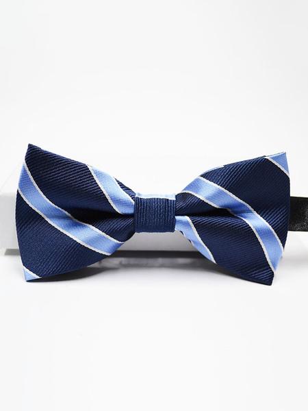 Milanoo Men Bow Tie Dress Tie Light Blue Stripes Cosplay Costume Halloween Accessories