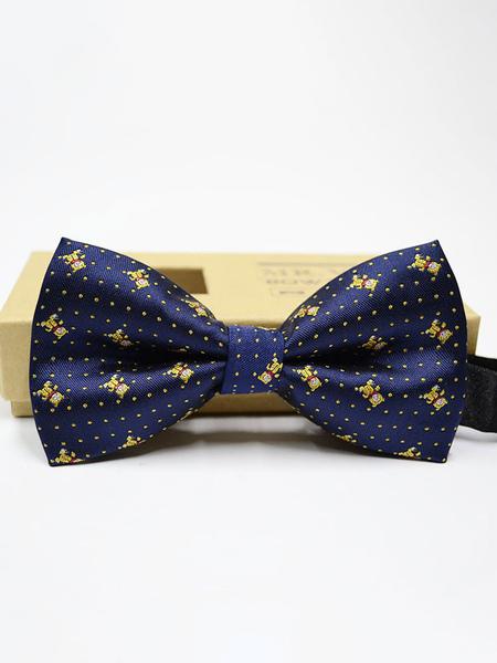 Milanoo Men Bow Tie Dress Tie Polka Dot Blue Cosplay Costume Halloween Accessories