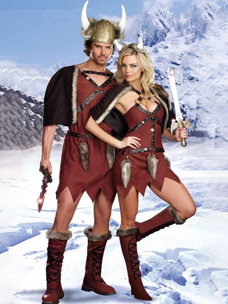 Milanoo Viking Costumes Two Piece Set Couple Cosplay Costume Halloween