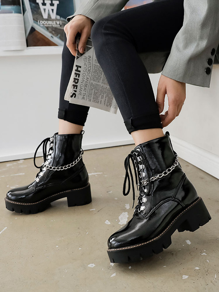 Milanoo Women Ankle Boots Black PU Leather Round Toe Chains Chunky Heel Booties
