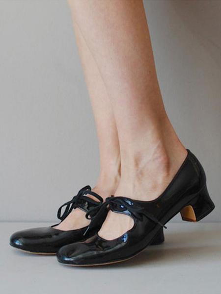 Milanoo Woman's Pumps Retro Round Toe Chunky Heel Strap Adjustable Black Mid-low Heel Shoes