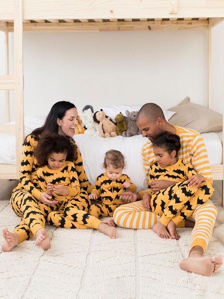 Family Matching Pajamas Bat Print Orange Two Piece Set Cosplay Costume Carnival