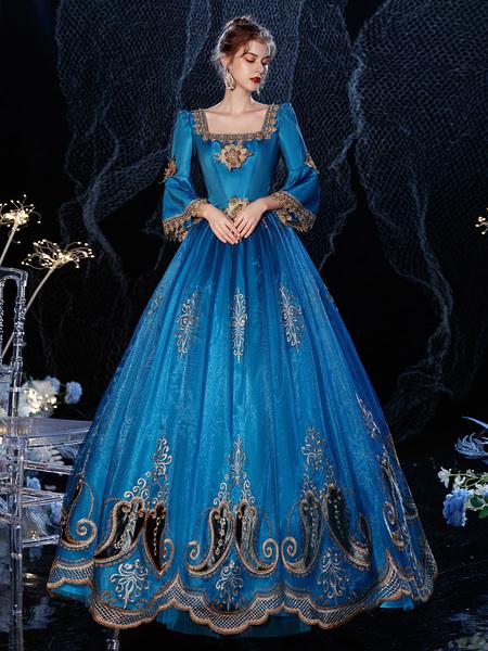 Image of Abito in costume retrò vittoriano rococò Costume carnevale in cotone con pizzo mascherato blu reale