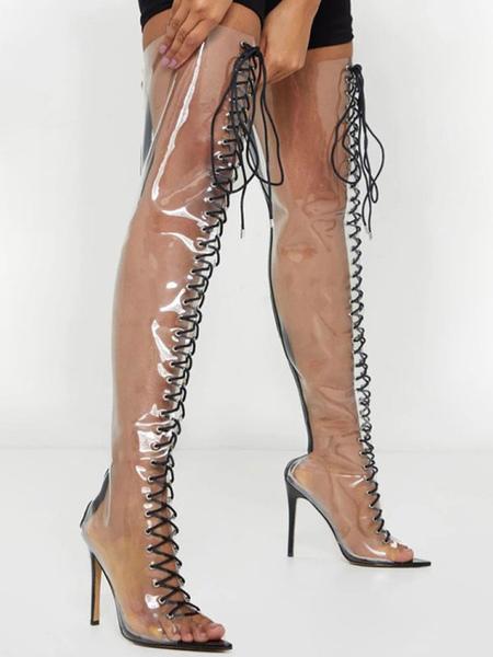 Cuissardes Vernies Transparent à Talons Hauts à Lacets Femme avec Bout Pointu Cuissardes Bottes Femme