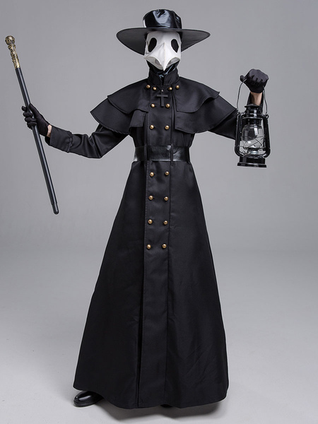 Image of Carnevale Plague MD Plague Doctor Cosplay Costume in poliestere nero Set di costumi da uomo Plague Doctor Cosplay
