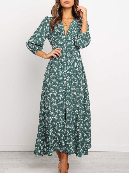 Kleider Damen Maxikleider Grün Langarm Bedrucktes bodenlanges Kleid aus Polyester mit V-Ausschnitt