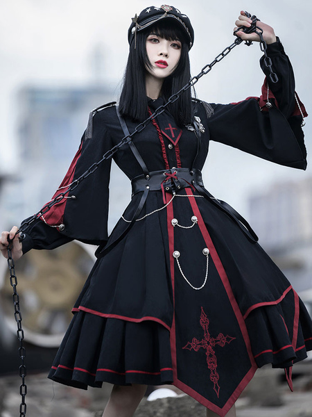 Image of Abito Lolita OP stile militare Set 3 pezzi Abito Lolita in poliestere nero a maniche lunghe