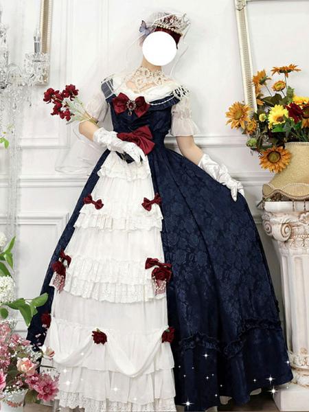 Customized Sweet Lolita OP Dress Snow White Floral Print Short Sleeves Neverland BowsRuffles White Tea Party Lolita One Piece Dresses