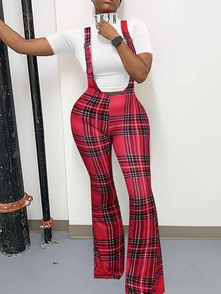 Damen Damen Overalls Blue Zipper Baumwollmischung Layered Plaid Skinny Leg Pants