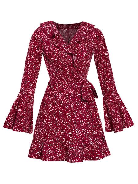 Kleider Damen Skater Kleider Burgunder Blumendruck Polyester V-Ausschnitt mit langen Ärmeln Vintage ausgestelltes Kleid