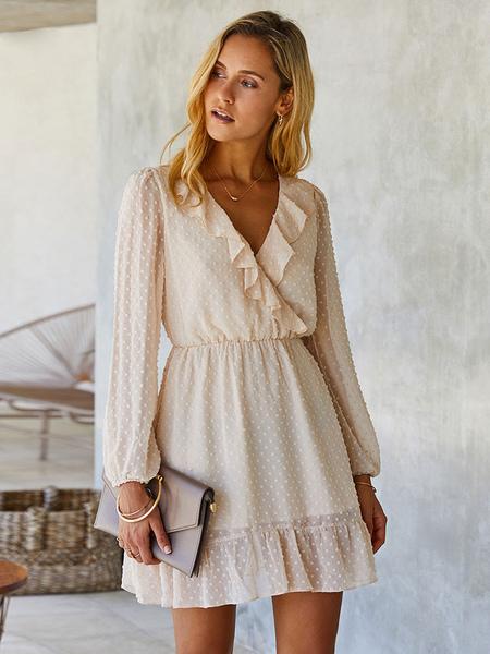 Women Light Apricot Mini Dresses Long Sleeves Ruffles Polyester Short Dress