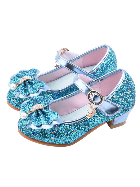 Image of Scarpe da ragazza di fiori Scarpe da festa con tomaia in tessuto con paillettes blu Scarpe da spettacolo per bambini