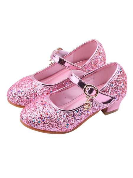 Image of Scarpe da ragazza di fiori Scarpe da cerimonia per bambini con punta tonda in tessuto con paillettes rosa