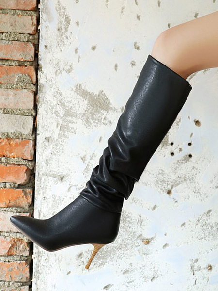 Women\\'s Black Over The Knee Boots PU Leather Pointed Toe Stiletto Heel Boot