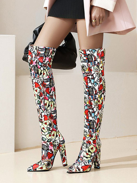 Women\\'s Colorful Over The Knee Boots Red Pointed Toe Chunky Heel Boot
