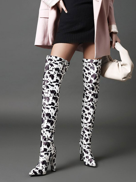 Womens Black Over The Knee Boots Leather Pointed Toe Chunky Heel Boot