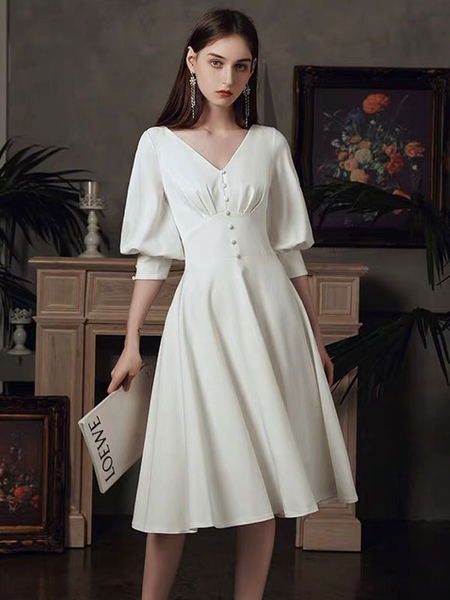 Party Dress White Pretty A-Line Tea-Length V-Neck Buttons Puffer Sleeve Dress