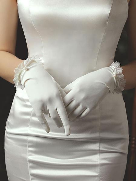 Image of Guanti da sposa da donna Guanti da sposa con perle in tessuto satinato bianco
