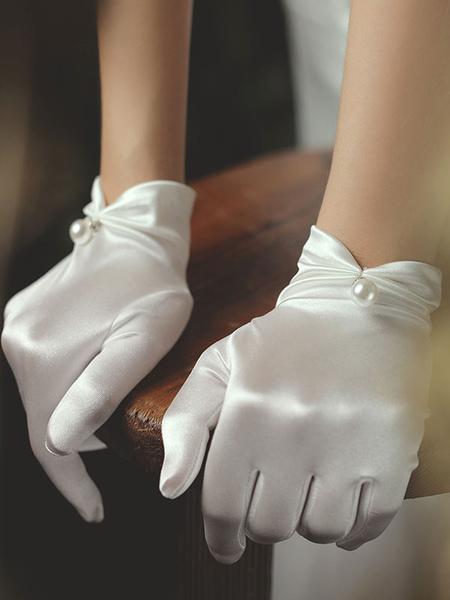 Image of Guanti da sposa da donna Guanti da sposa bianchi con perle in tessuto satinato