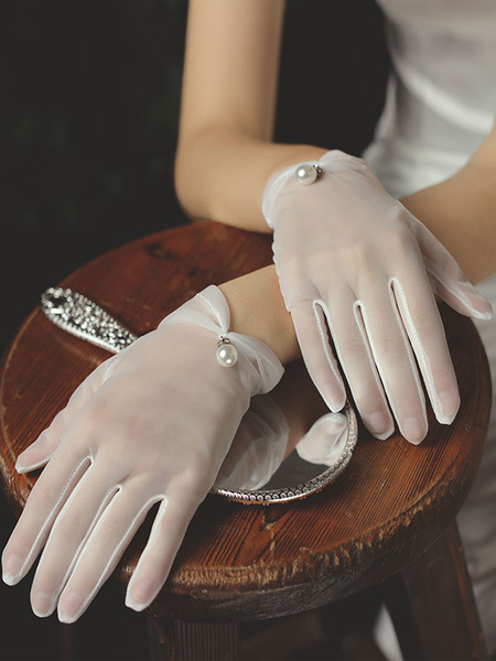 Image of Guanti da sposa da donna Guanti bianchi da sposa con perle in tulle