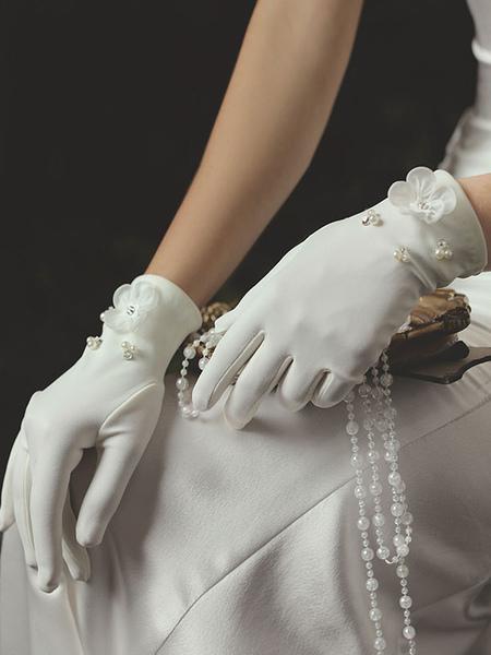 Image of Guanti da sposa bianchi da donna Guanti da sposa in tessuto di raso con perline