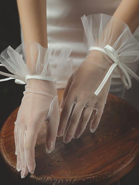 Image of Guanti da sposa da donna Guanti da sposa dolci in tulle con lacci