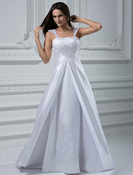 Milanoo Robe de mariée fabuleuse A-ligne en satin avec perles col carré à traîne - milanoo.com - Modalova