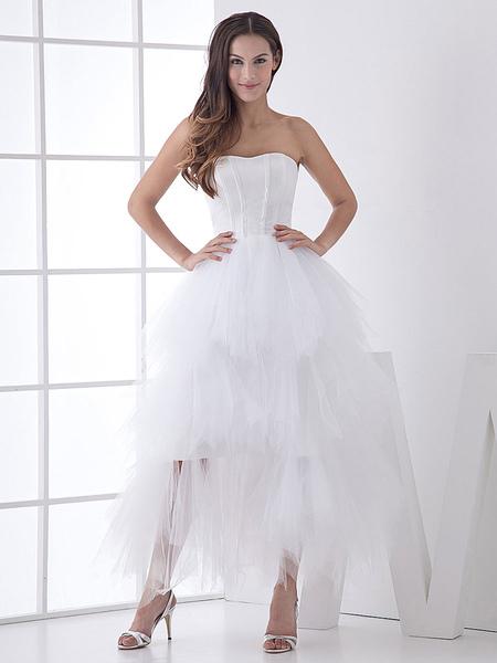 Milanoo Robe de Mariée Mi-Longue Robe Bustier en Tulle de Satin Robe de Mariage Chic Simple 2021 - milanoo.com - Modalova
