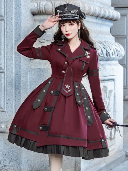 Image of Abito stile militare Lolita OP Abito bordeaux a maniche lunghe Catene Ruffles Abiti accademici Lolita di un pezzo
