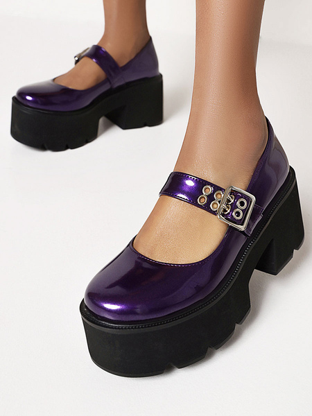 Clothing & Accessories Gothic Lolita Footwear Royal Purple Round Toe PU Leather Lolita Shoes