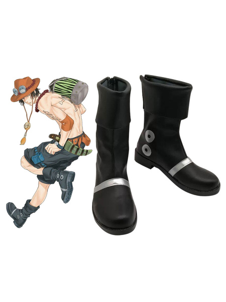 Clothing & Accessories One Piece Fire Fist Ace Portgas D Ace Cosplay Boot Black PU Leather Cosplay Shoes