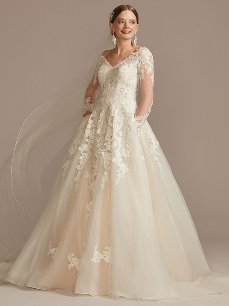 Clothing & Accessories|Dresses & Skirts|Yoga Wedding Gowns With Train A-Line Long Sleeves Tulle V-Neck Ivory Lace Bridal Gowns