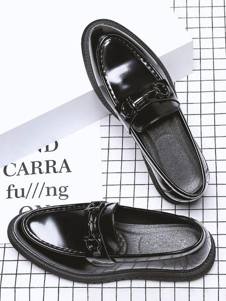 Vêtements|Chaussures Mocassins noirs pour hommes Mode en cuir PU Détails en métal Chaussures décontractées à enfiler