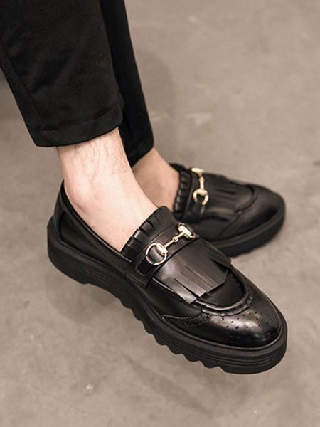 Vêtements|Chaussures Mocassins noirs pour hommes Slip-On Metal Details Bout rond Chaussures décontractées en cuir PU