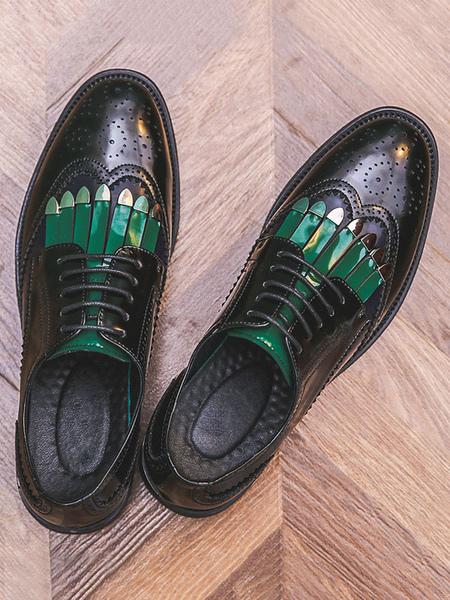 Vêtements|Chaussures Mocassins noirs pour hommes confortables chaussures décontractées en cuir PU à blocs de couleurs