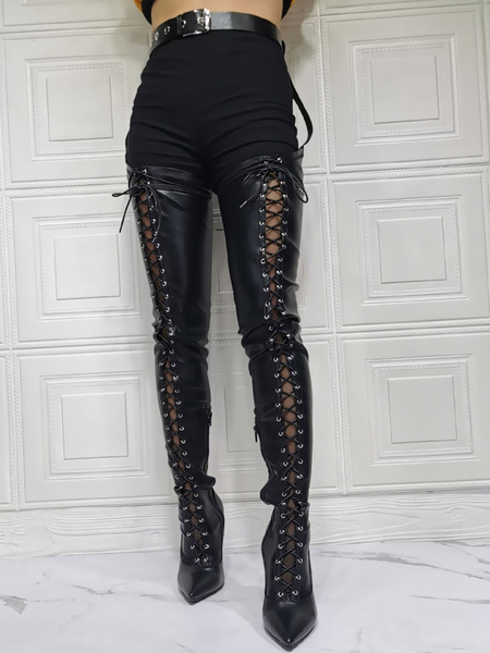 Sexy High Heel Boots Plus Size Pointed Toe Boot Shaft Adjustable Buckle Stiletto Heel Black Thigh High Over The Knee Boots Stripper Shoes