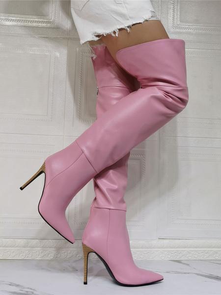 Rose au-dessus du genou pour les femmes en cuir PU bout pointu ciel haute bottes sexy