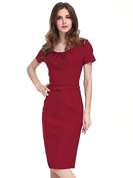 Bodycon Dresses Red Short Sleeves Sash Jewel Neck Slim Fit Dress Sheath Dress Pencil Dress
